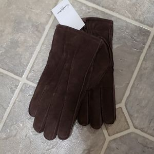 Men's Brown Suede Gloves. Lined. Size M